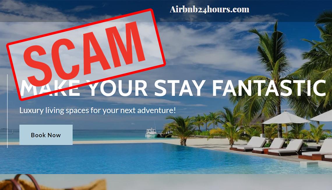 Palabra fraude en inglés encima de una imagen que promociona un destino fantástico para reservar a través de airbnb