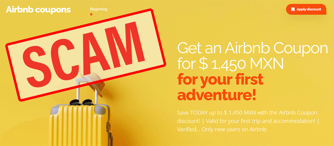 Palabra fraude en inglés encima de una imagen que promociona una página de cupones de descuento para usar en airbnb