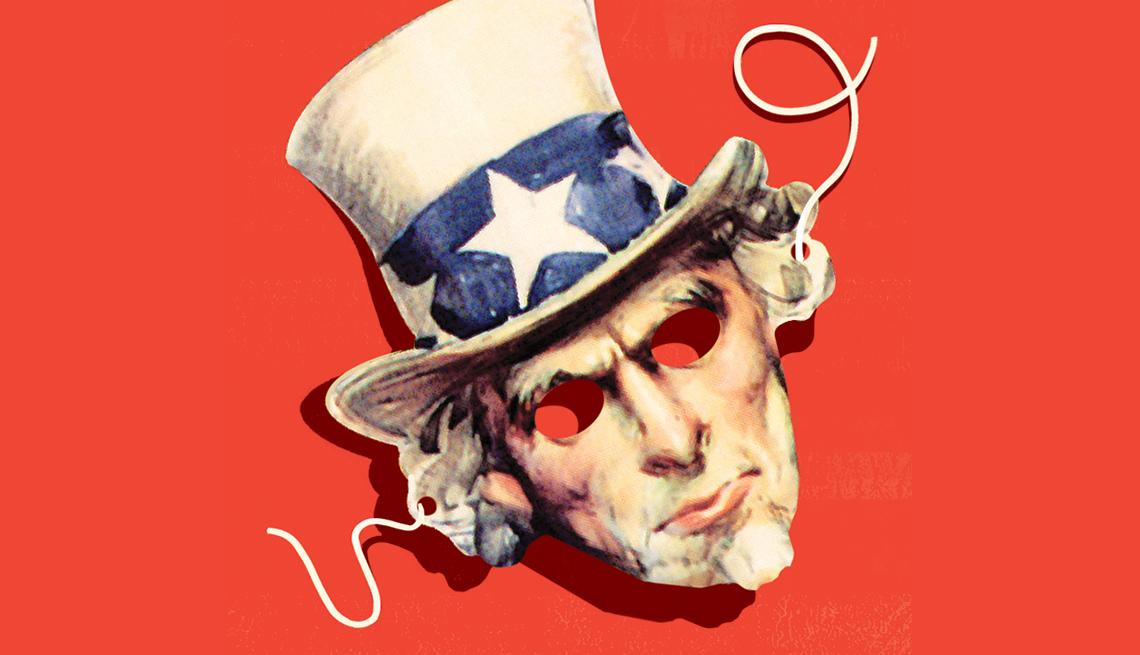 Máscara de papel de un impostor del Tío Sam