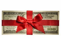 $100 in red bow-Tax cuts for 2011