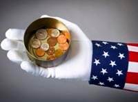New tax deductions guidelines in 2012- uncle sam holding a can with coins in it