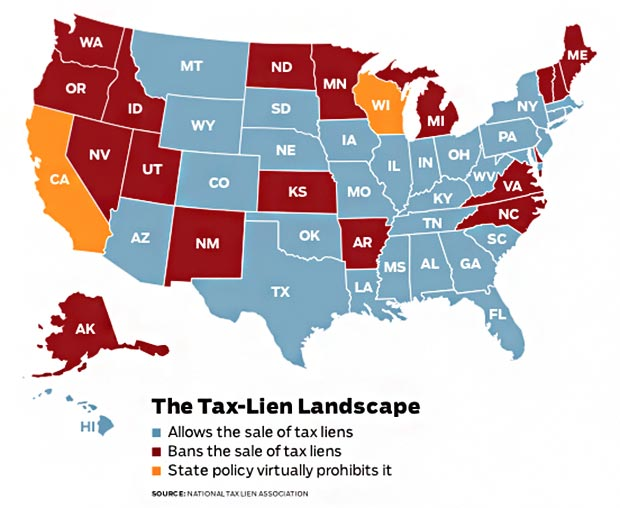 tax lien states map Tax Liens Lead To Homeowner Foreclosure