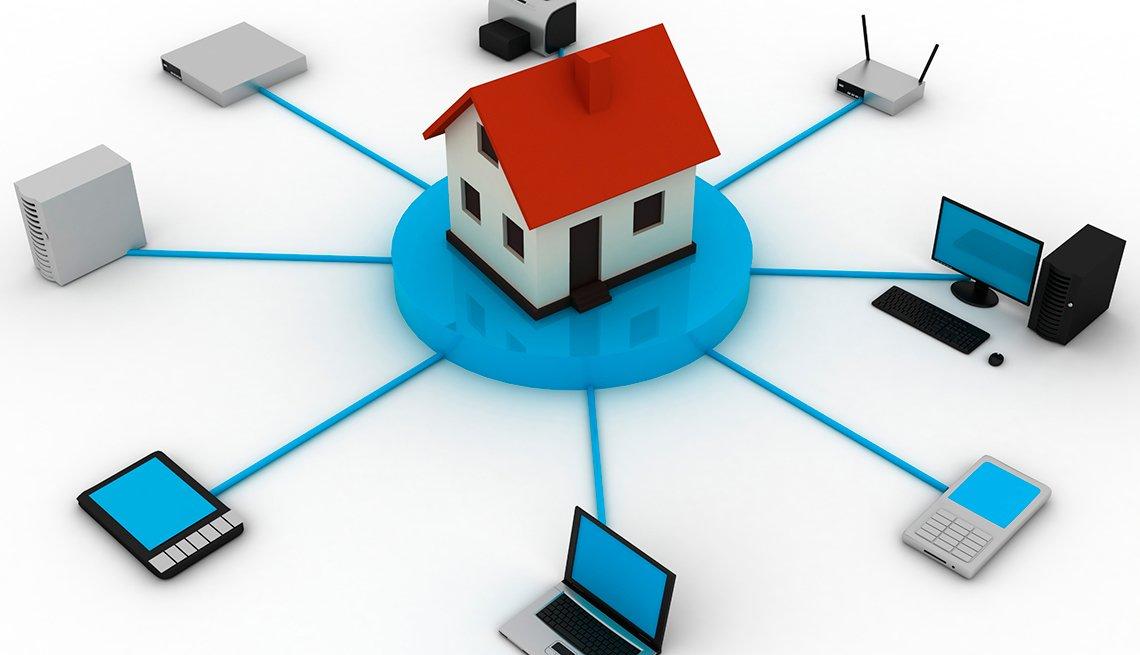Ilustración que conecta una casa con varios electrónicos como un computador, un enrutador y otros.
