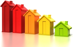 Ilustración de casas en orden de tamaño de la grande a la pequeña - Apelación a los impuestos sobre la propiedad.