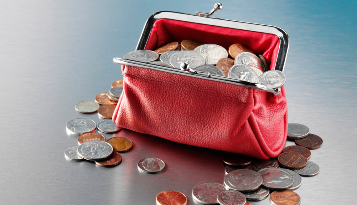 Purse full of coins