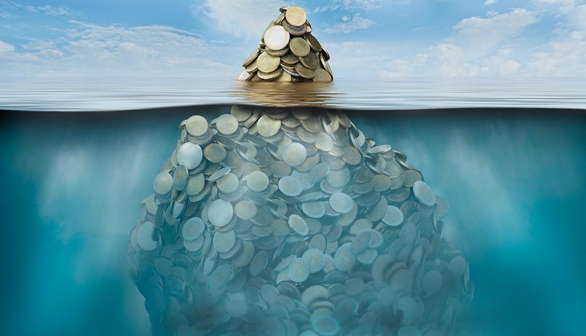 Ilustración de una isla de monedas que se ve por encima y por debajo del mar
