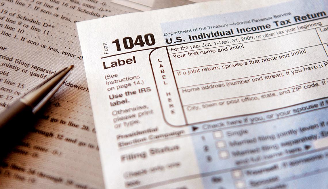 Forma 1040 del IRS para presentar impuestos