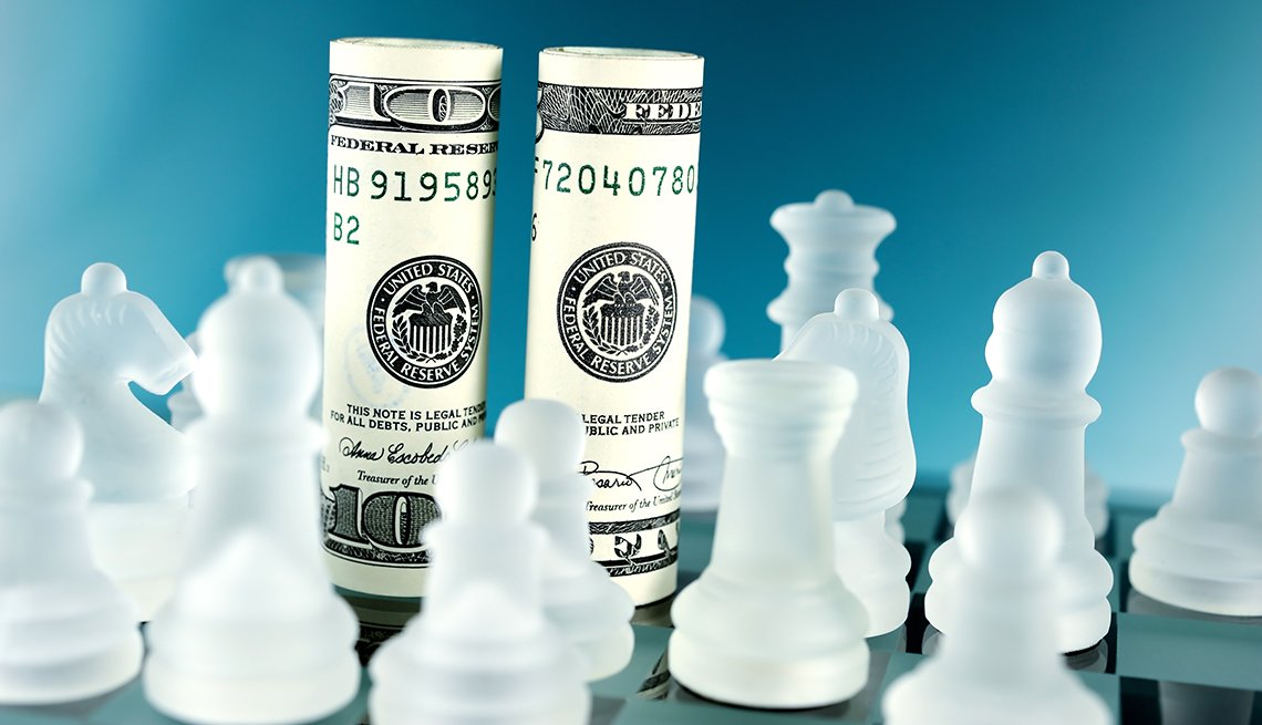 money on a chess board