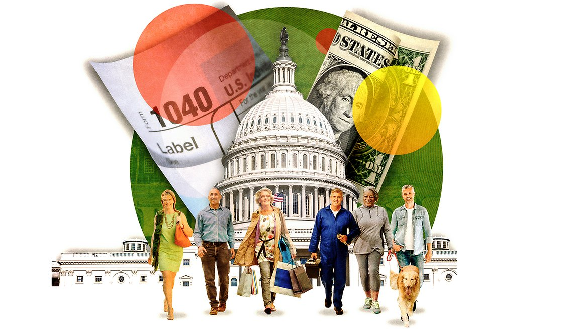 illustration of people, taxes, money and the U.S. capitol