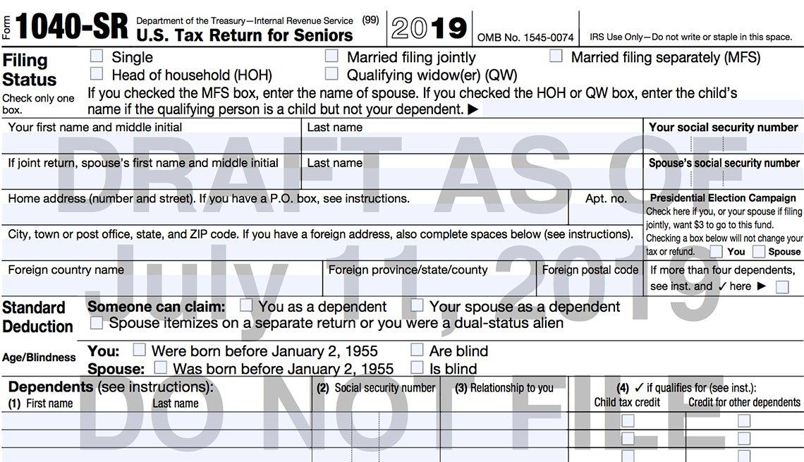 Nuevo formulario de impuestos 1040 del IRS
