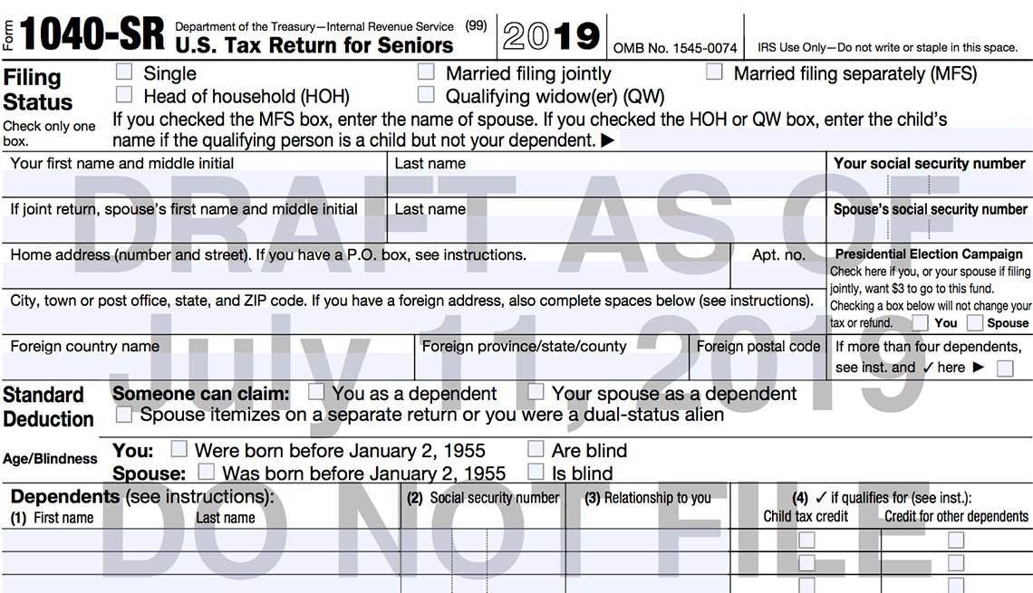 New I R S Ten Forty S R tax form