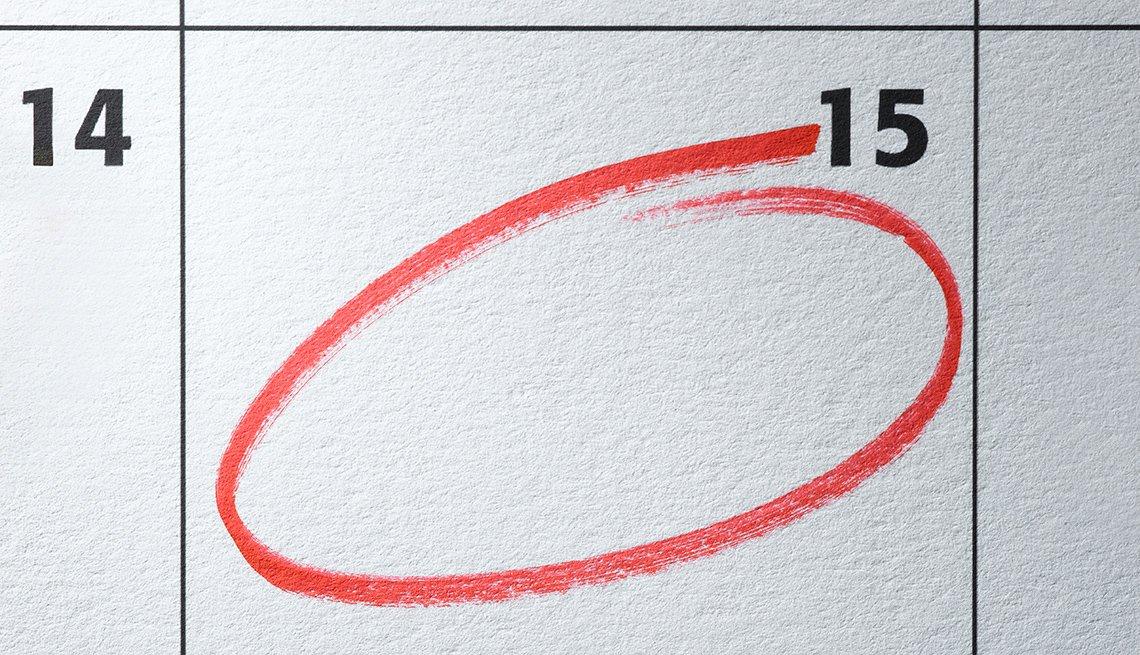 Calendario que marca el día 15.