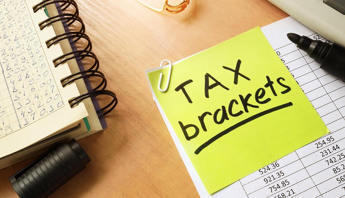 Cuaderno, y lista con una nota en inglés, categorías de impuestos.