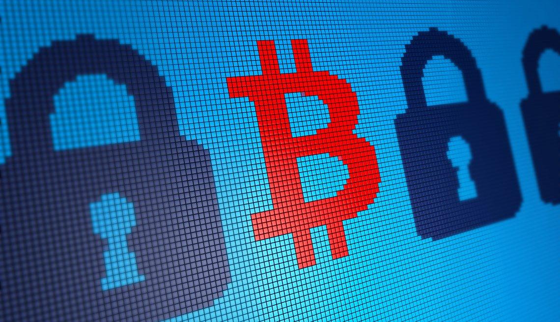 Bitcoin Symbol on Pixelated Background