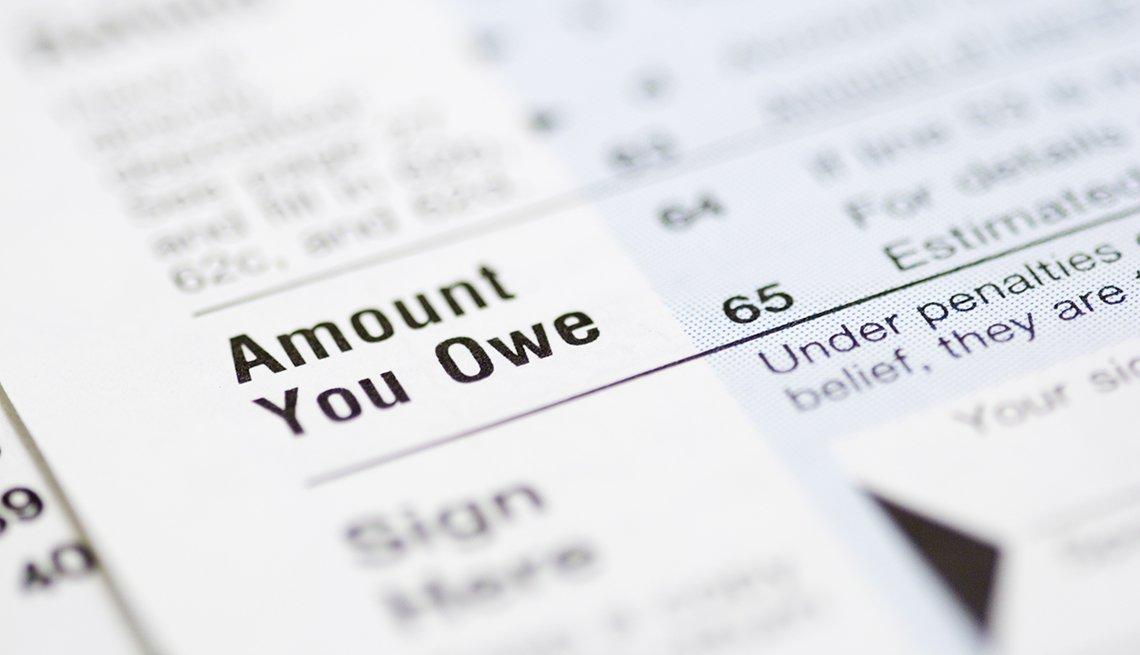 Formulario 1040 del IRS donde se ve la sección Cantidad que debes.