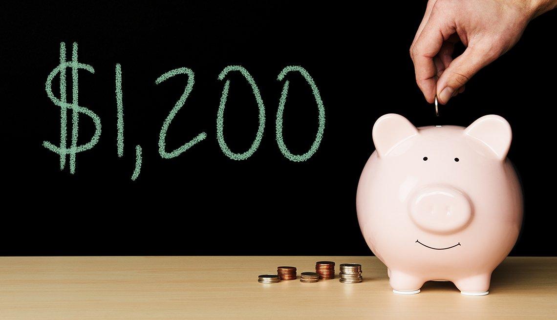 Cifra $1,200 dólares al lado de una alcancía y una mano que le echa una moneda.