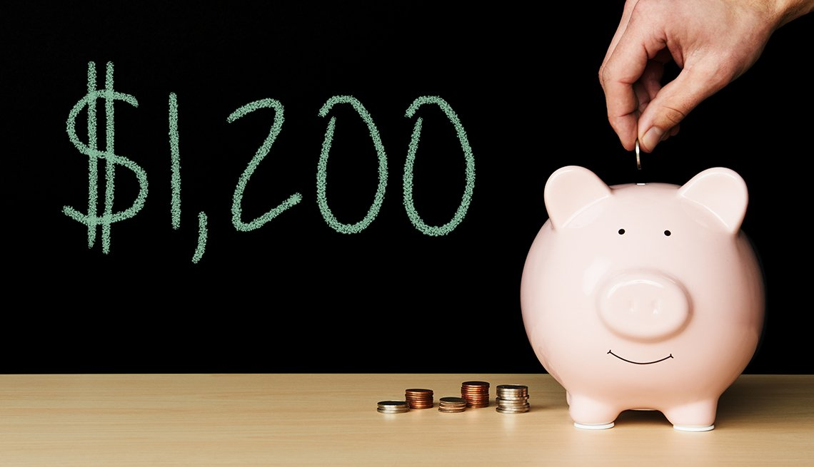 $1200 COVID-19 Stimulus amount of money on chalkboard next to piggybank with hand depositing coins