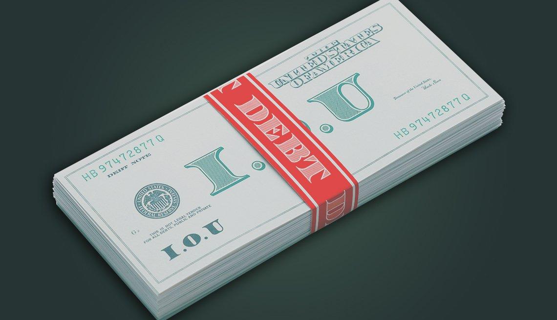 Imagen de una moneda genérica con una banda roja que dice deuda.