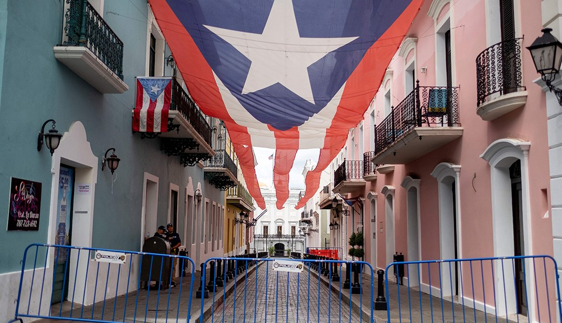 Barricades blocking a street in San Juan Puerto Rico during coronavirus shutdown