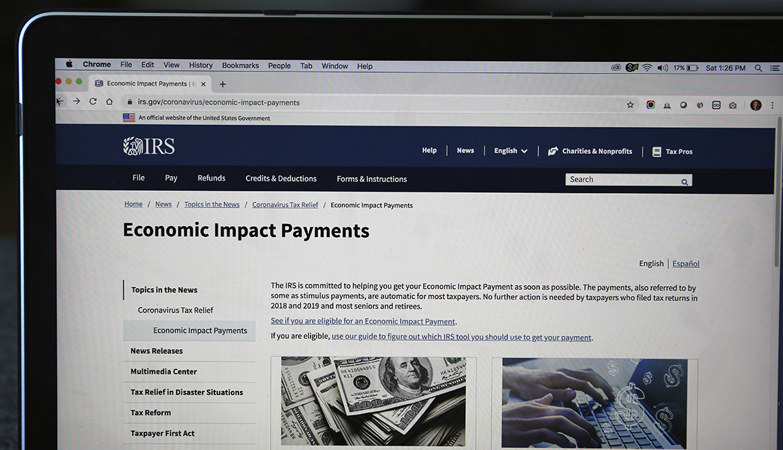 The IRS website economic impact payments page  is displayed on a computer screen