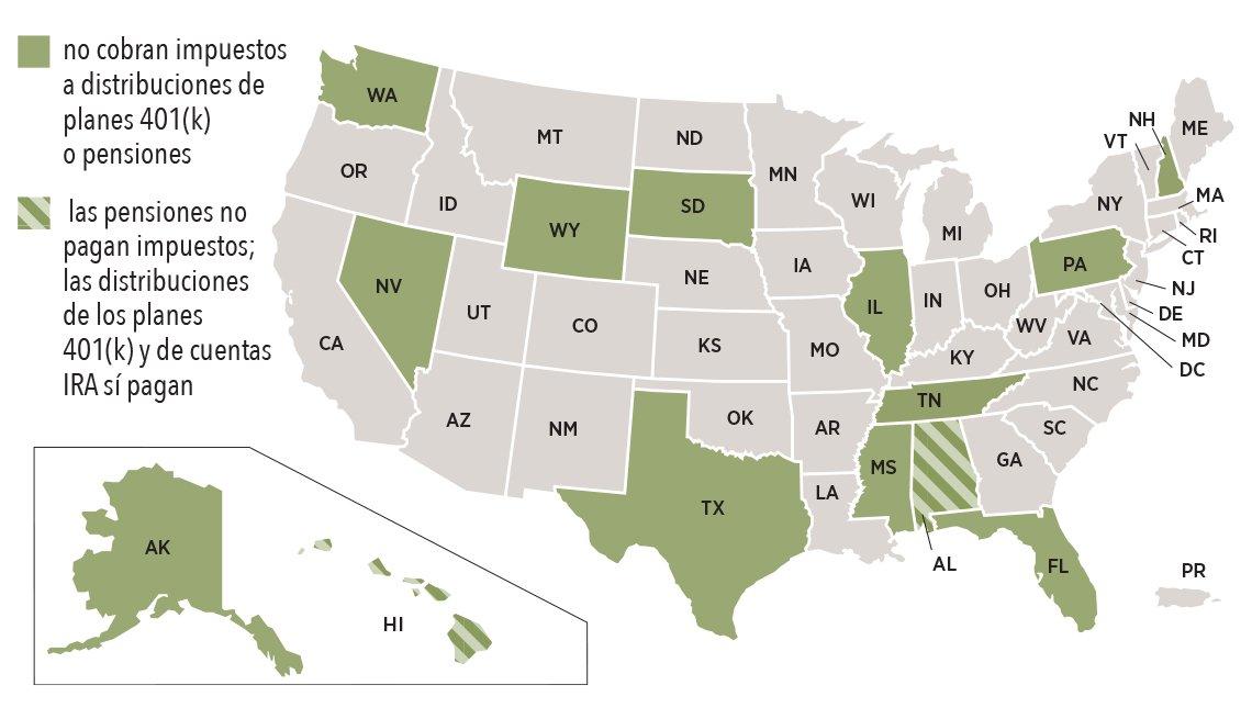 Mapa de Estados Unidos con los estados sin  impuestos a los ingresos de los planes de jubilación.
