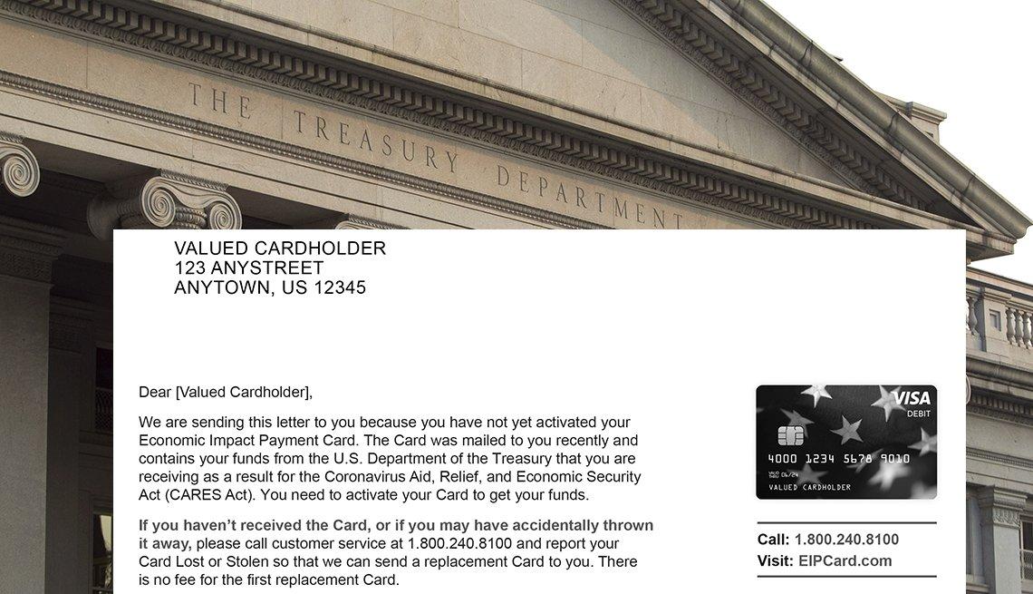Una carta de ejemplo enviada a los contribuyentes que recibieron un pago de estímulo sobre el edificio del Departamento del Tesoro de Estados Unidos, Washington, DC