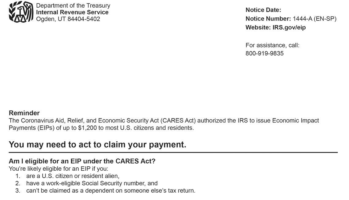 Aviso del IRS-1444-a como recordatorio para presentar reclamos de estímulo.