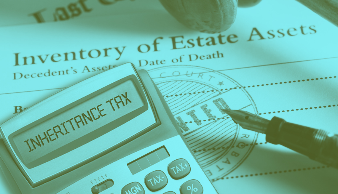 calculator and estate asset document representing the concept of death taxes