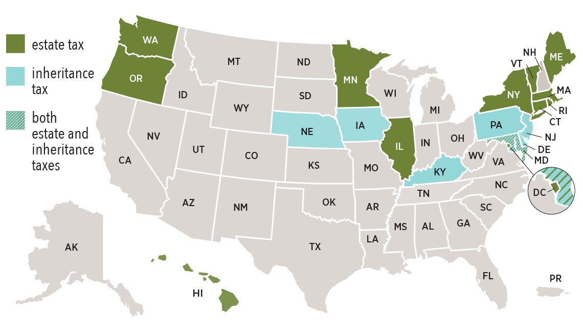 map that shows which U.S. states levy estate taxes, inheritance taxes or both