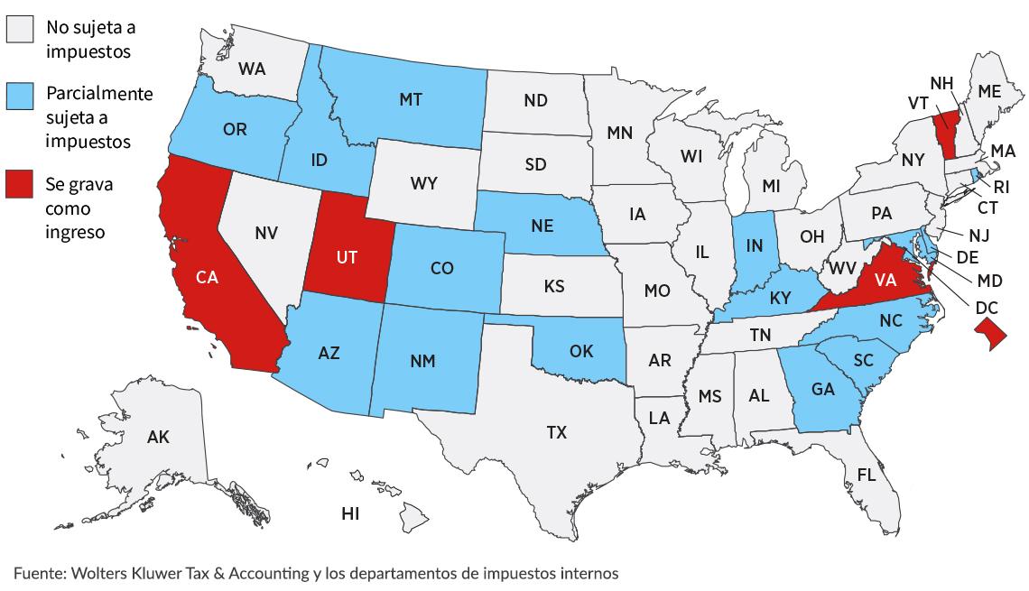 Mapa de Estados Unidos que clasifica los impuestos por estado para la jubilación militar