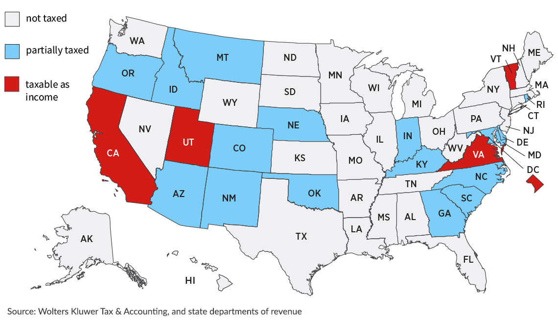 united states map that shows which states have income tax on military retirement benefits