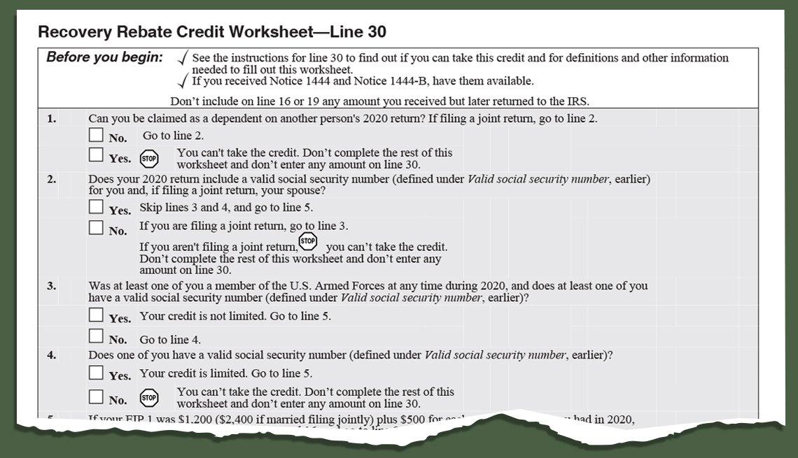 Instrucciones en hoja de trabajo para el Crédito de recuperación de reembolso del IRS para el formulario 1040 o 1040-SR.