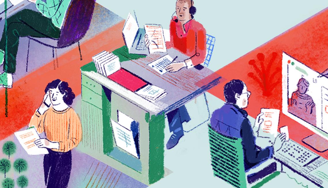 Ilustración de una oficina donde ayudan a personas con sus impuestos