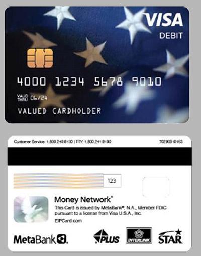 sample IRS stimulus debit card