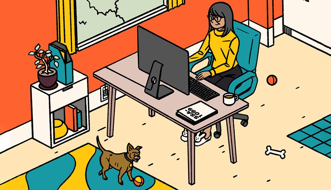 Ilustración de una mujer en su oficina en casa
