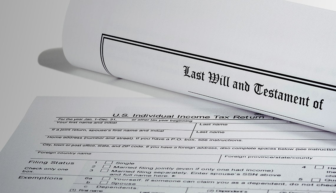 Last Will and Testament rolled up with IRS 1040 tax return