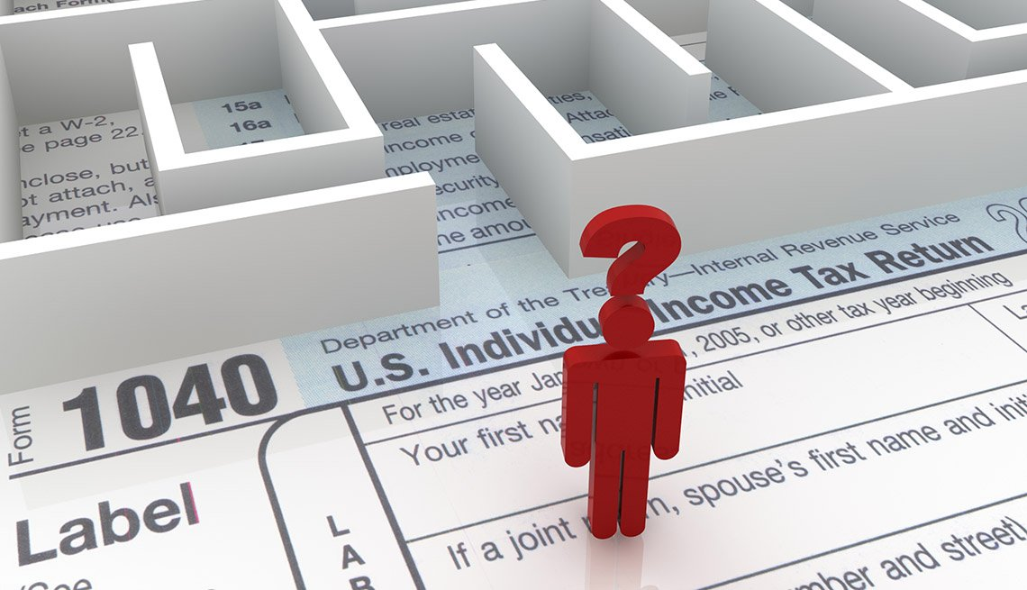 a red stick figure with a big question mark stands on a 1040 tax form facing a labryinth