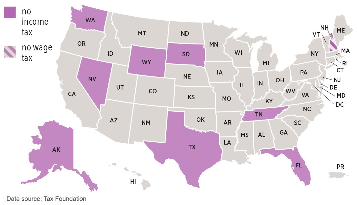 u s map showing which states do not tax income tax and wages