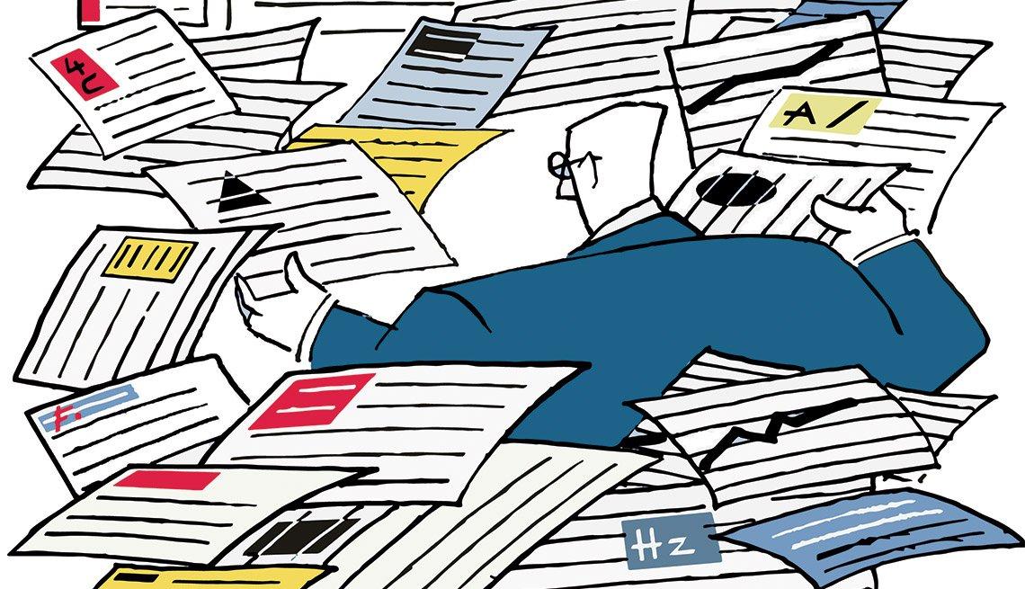 Ilustración de un hombre rodeado de formularios de impuestos.