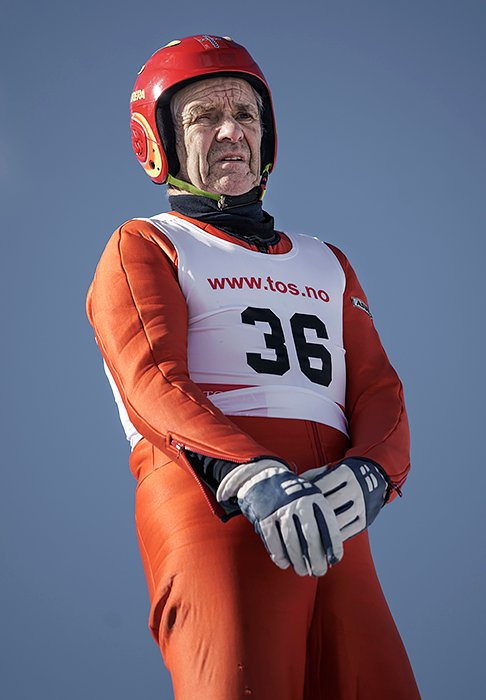 NORWAY. Tolga. 2019. Kåre Holmen, born in 1939, at the Norwegian Championships for veteran ski jumpers. Holmen is the oldest active competitive ski jumper and nordic combined athlete in the world.