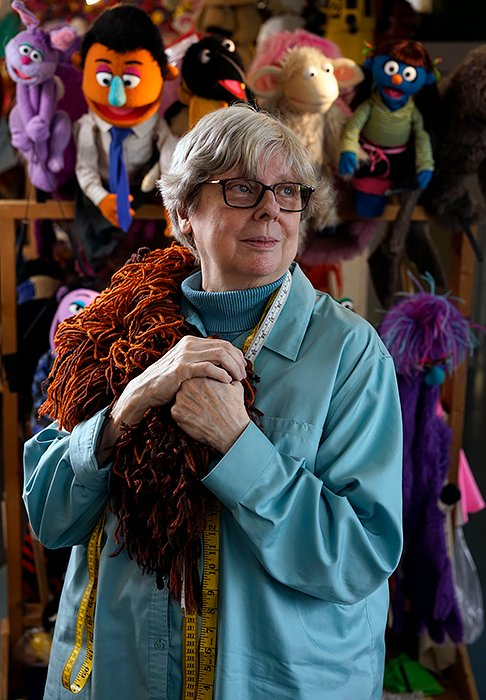 USA. Queens, New York. 2019. Connie Peterson is a long time costume designer that has worked on several Sesame Street puppets. Peterson works at the Jim Henson Company's workshop in Long Island City.