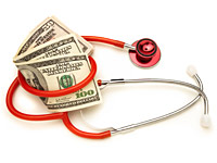 Red stethoscope wrapped around money, Proposal to raise Medicare eligibility age