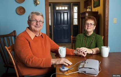 Leo and Kathy Null, helped AARP fight a proposal to allow phone companies to drop landlines without regulatory approval.
