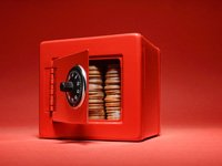 Coins in a red safe