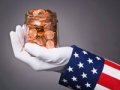 Uncle Sam holding jar of pennies, Chained CPI