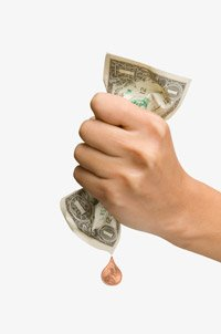 Woman squeezing dollar and dripping penny, Chained CPI