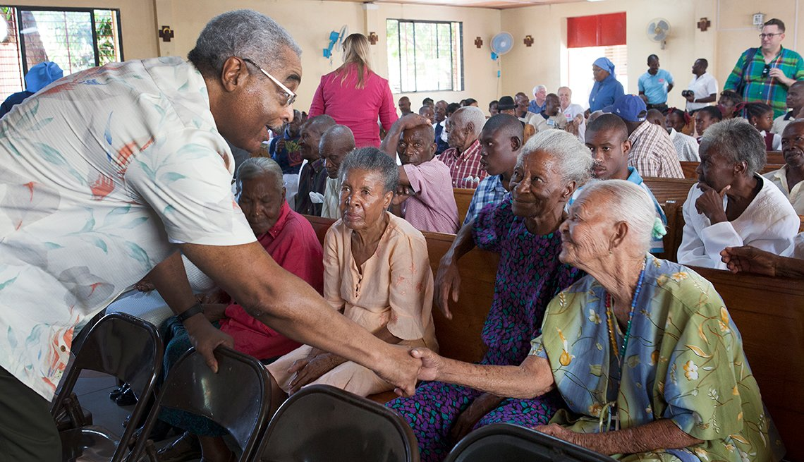 Barry Rand, visits St. Vincent de Paul nursing home, Leogane, Haiti