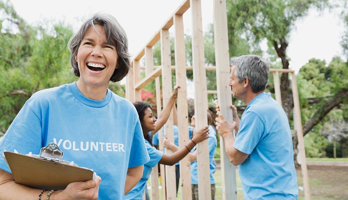 Volunteers building a house, Outdoors, AARP, Senior Day