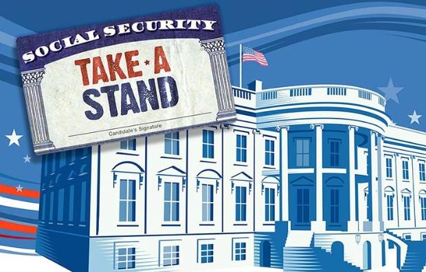Foto montaje de la tarjeta del Seguro Social sobre la Casa Blanca - Tomen una posición