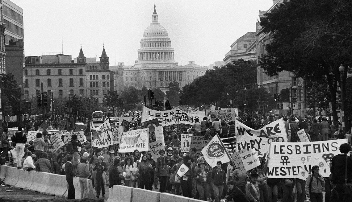 Milestones in Gay History in America -  rainbow rally